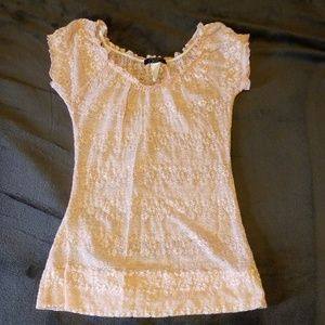 Baby pink see thru lace top sz S